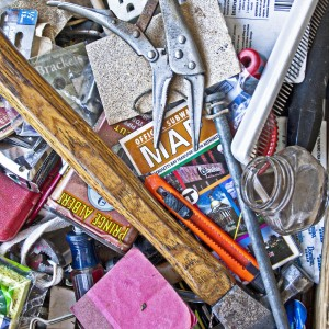 the contents of a junk drawer