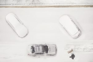 cars parked in the snow