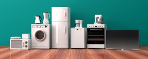 household appliances in green background